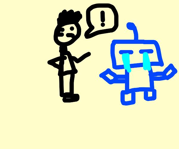 man remarking on devastated robot