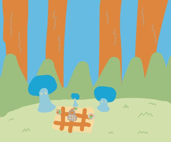 Mushroom family on a picnic
