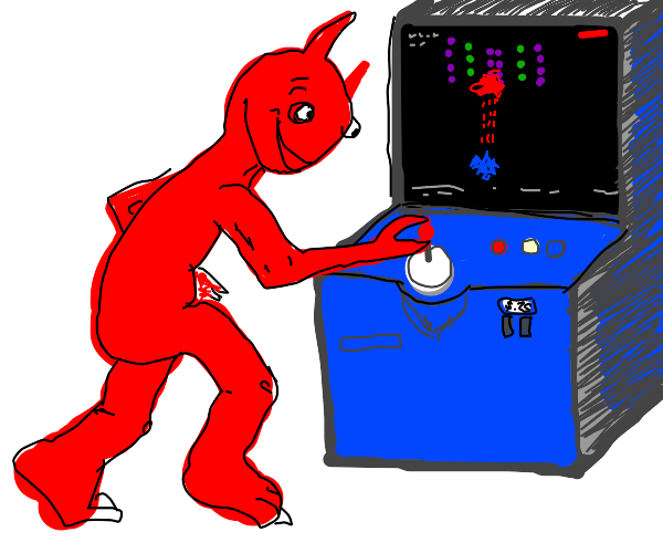 Satan playing space invaders