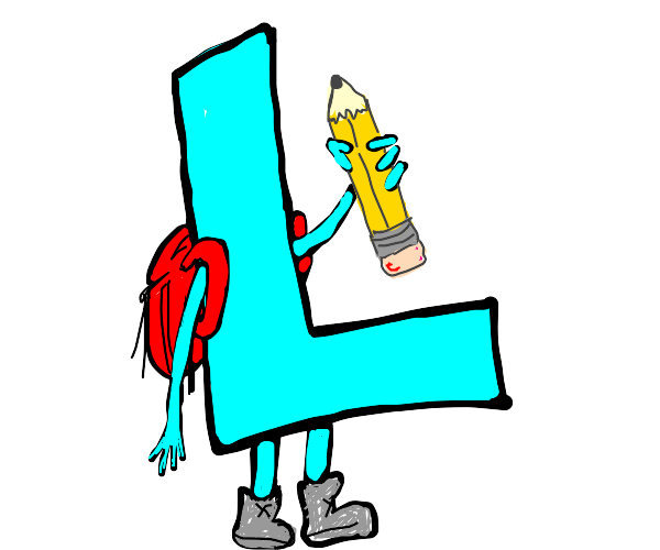 The letter L with a red backpack and pencil