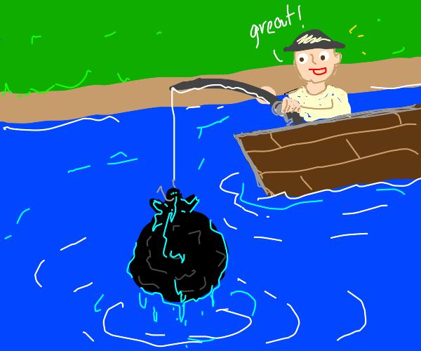 Someone fishing for garbage