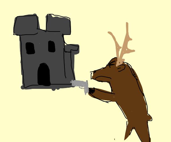 Reindeer pillages castle