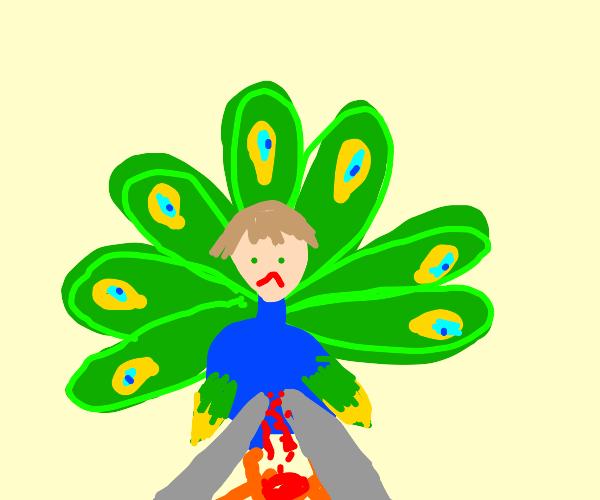 impaled peacock man head