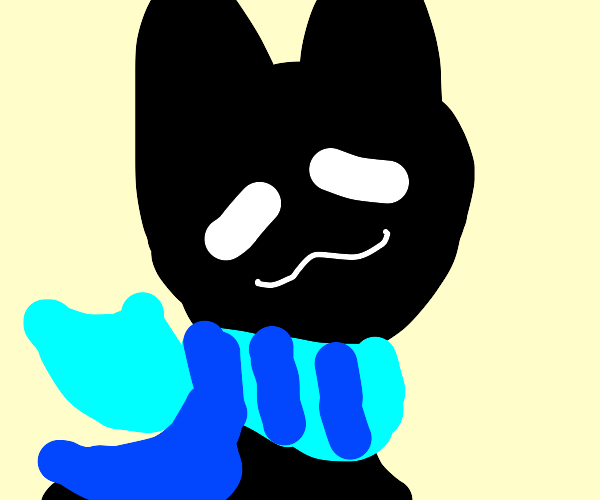 Black Cat Putting On A Scarf