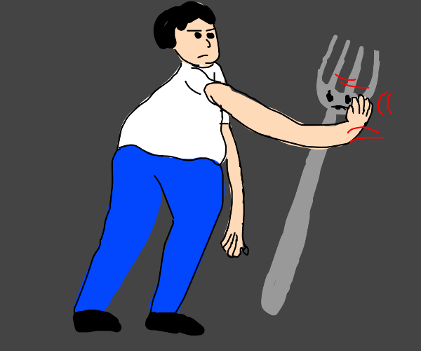 Person hitting a fork in face