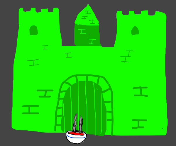 green castel with hot soup in front of it