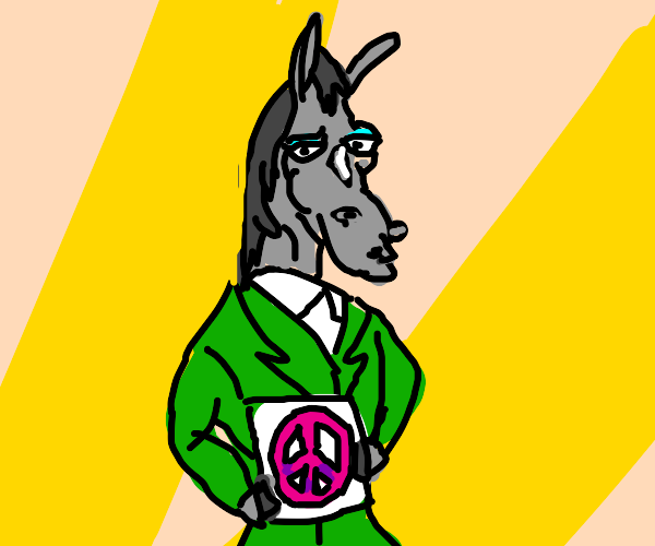 Horse holding up peace sign