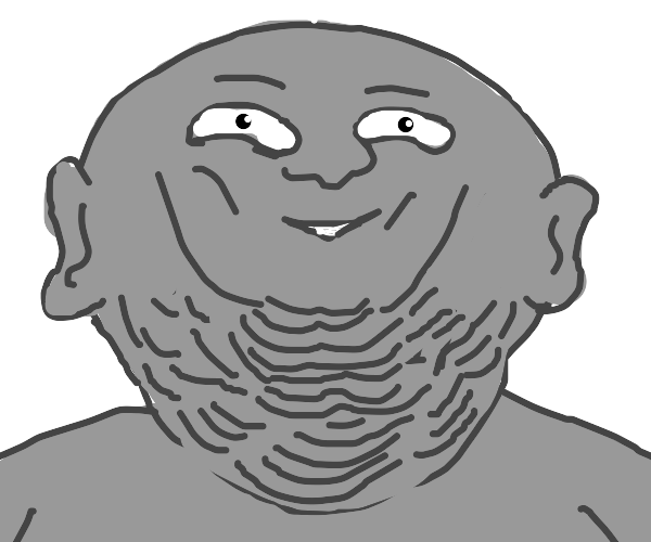 Grey man with many chins