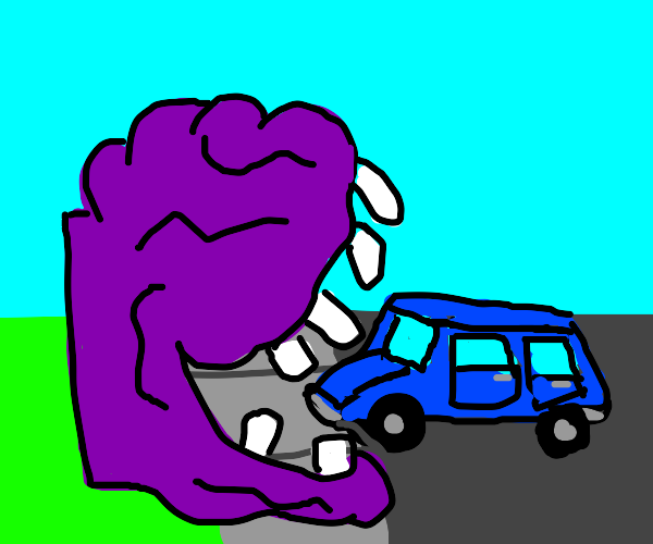 A blob with flat on its side eats a blue car
