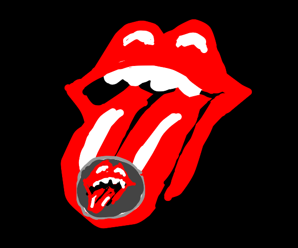 PopArt mouth sticks out tongue with a sticker