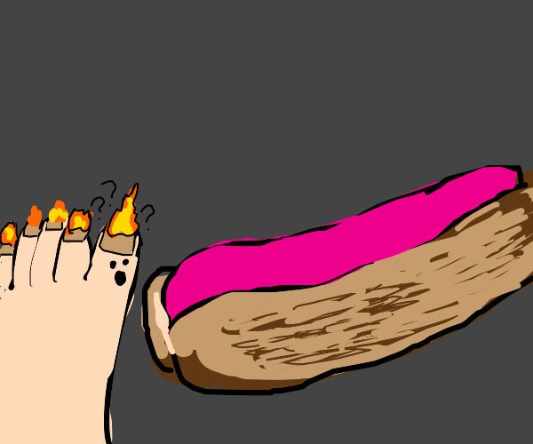 toe on fire is confused by hotdog