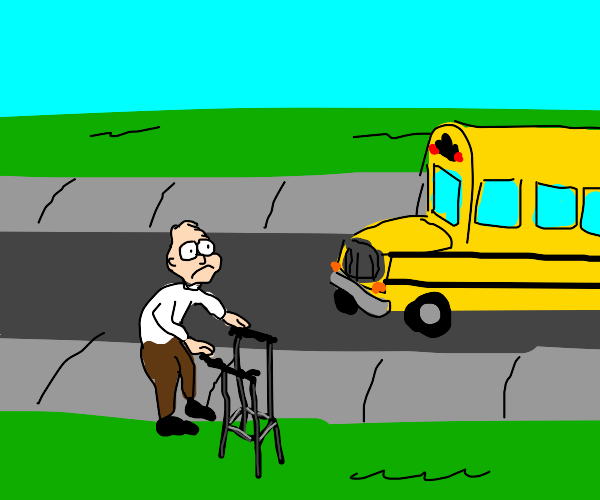 Old man frowns at schoolbus