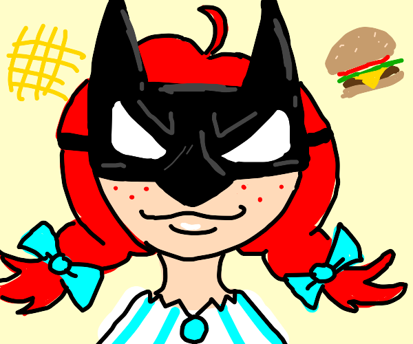 Wendy's Girl with a Batman Mask
