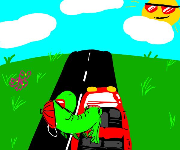 dinasaur driving rad red convertible car