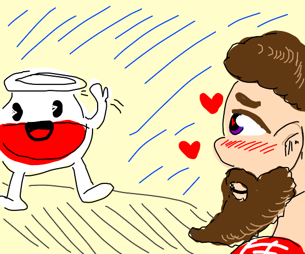 Bearded man in love with Kool-Aid