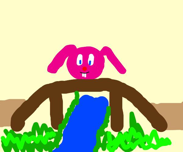 pink bunny head on bridge