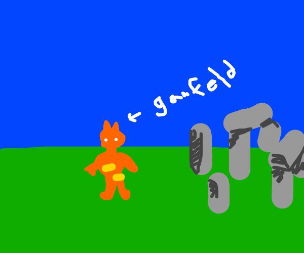 Garfield visits Stonehenge