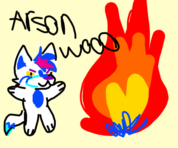 A furry sets fire to everything adorably.