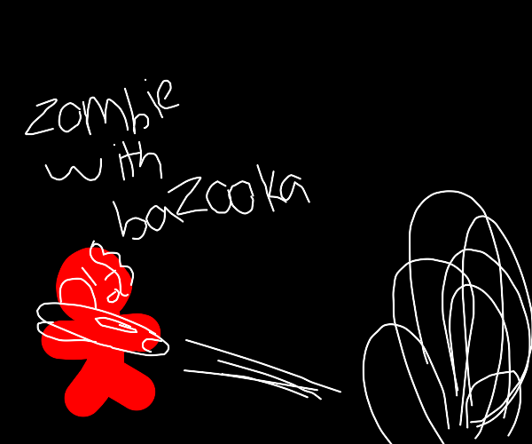 Zombie plugs a bazooka with his arm