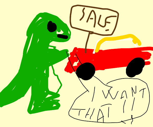 Dinosaur trying to buy a car