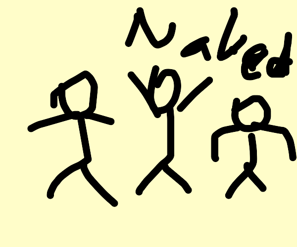three naked men go for a stroll