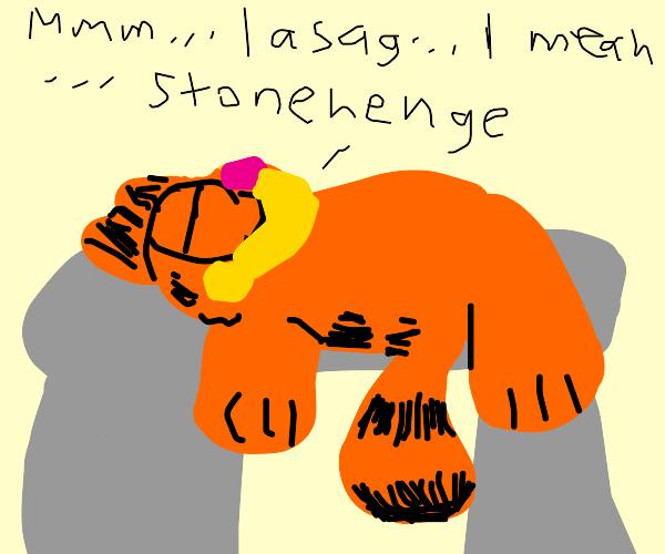 garfield sleeping at stonehenge
