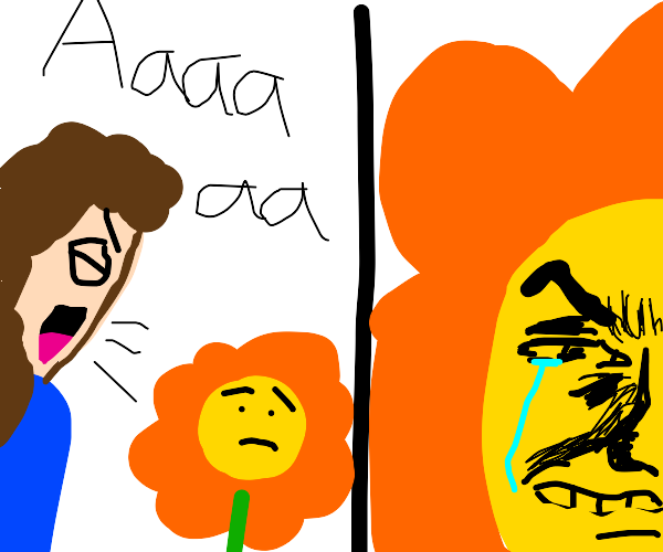 Loud woman makes flower feel insignificant