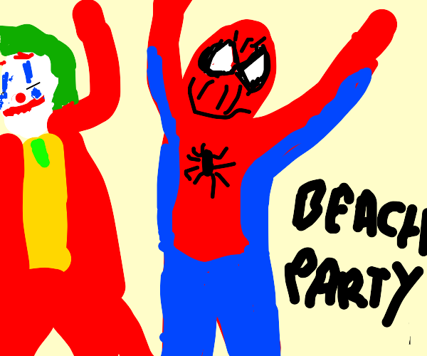 Spiderman dropping in to a beach party