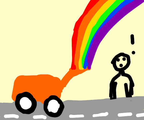 tractor  on the road with a rainbow