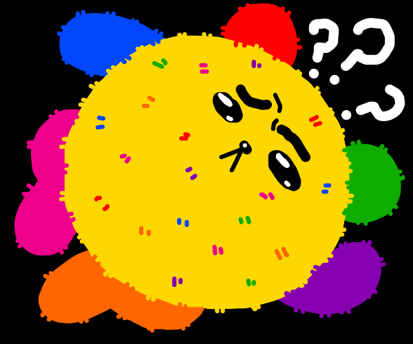 Colorful bear ball is confused