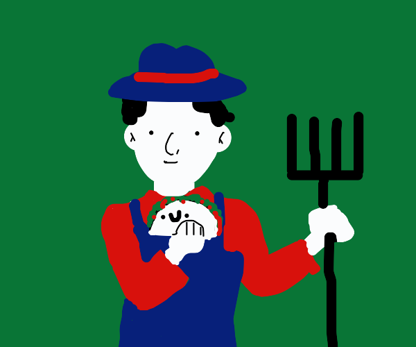 farmer holding a happy taco