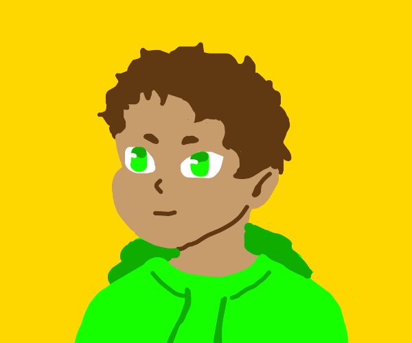 person with green hoodie and no pupils