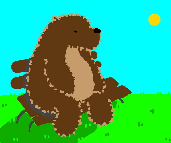 Bear on a bench