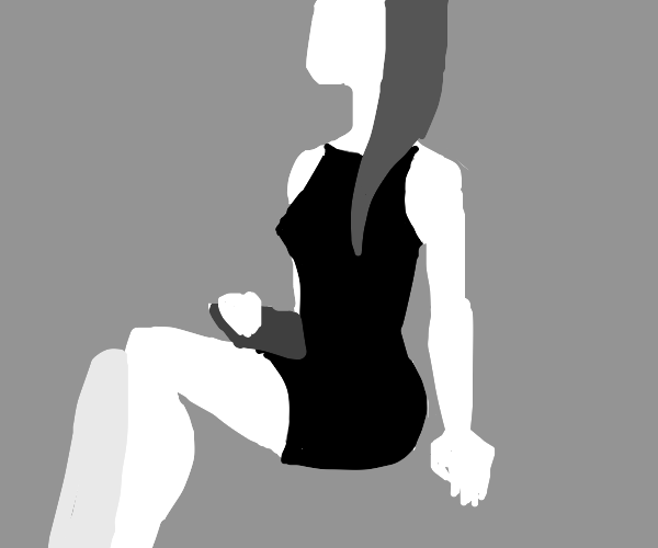 Elegant, long-necked lady, seated with purse