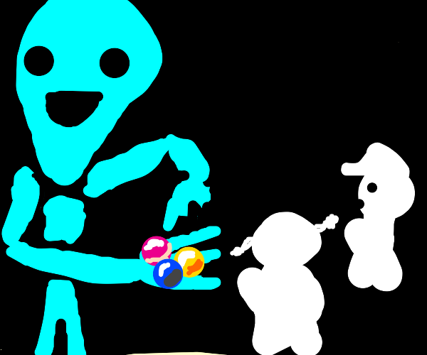 alien offering questionable candy to kids