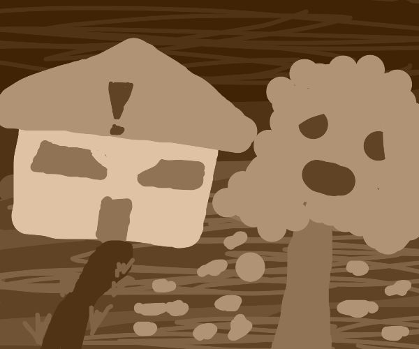 grey house mad at trees with grey foilage