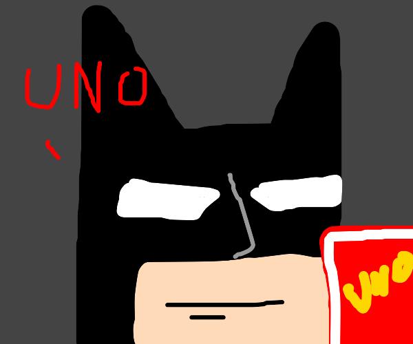 Batman wins Uno game