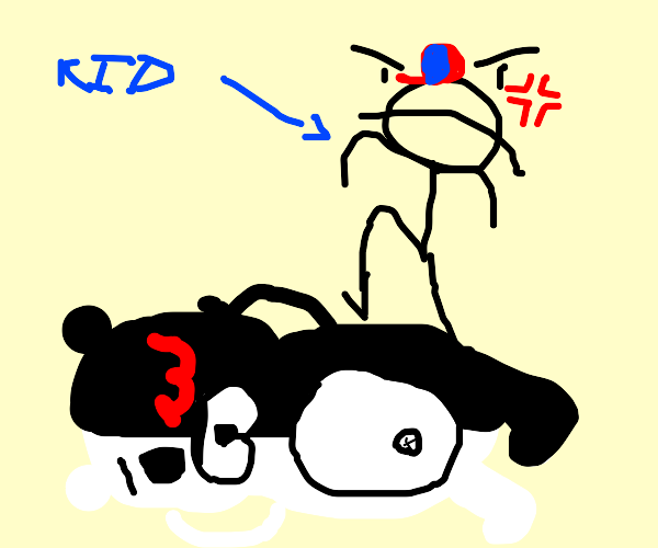 kid kicks monokuma