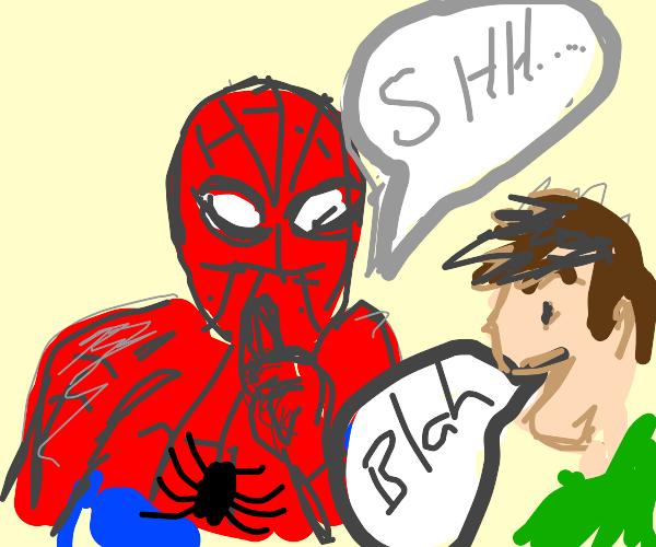 SpiderMan shushing you