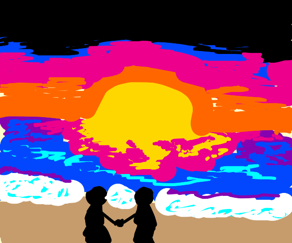 couple watching beach sunset