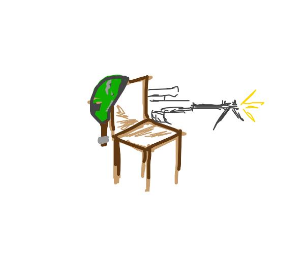 army chair with a gun