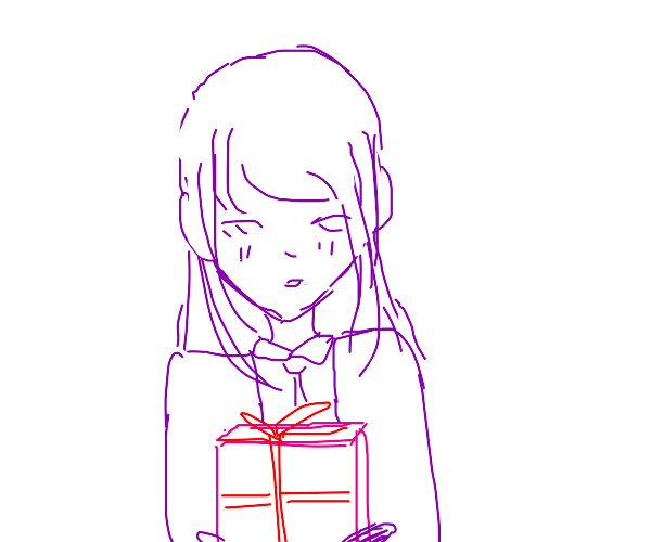 purple lady holding a present