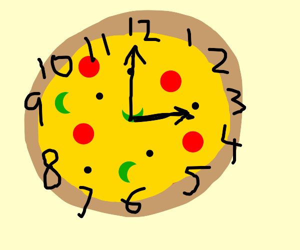 3:00 on the pizza clock