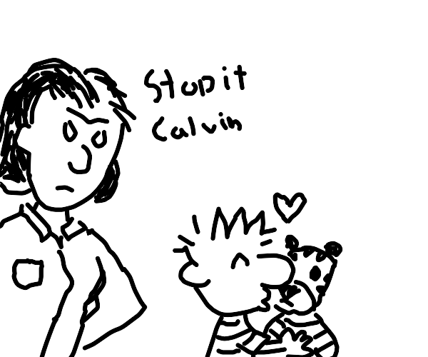 Calvin's mom disapproves of him dating Hobbes