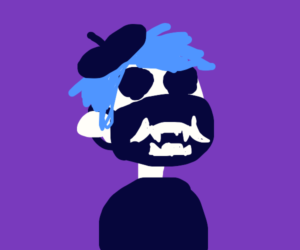 2d with a pyrocynical mask and beret
