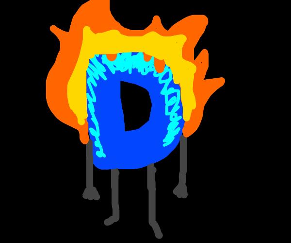 Drawception D on fire