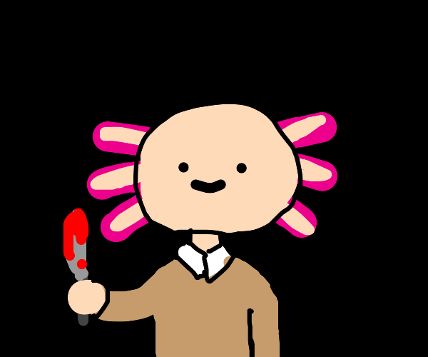 axolotl has just been painting w/ red knife