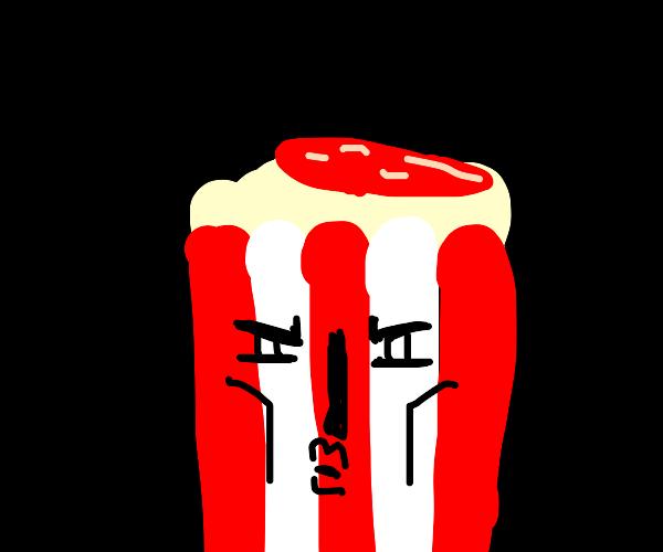 hot popcorn and salami