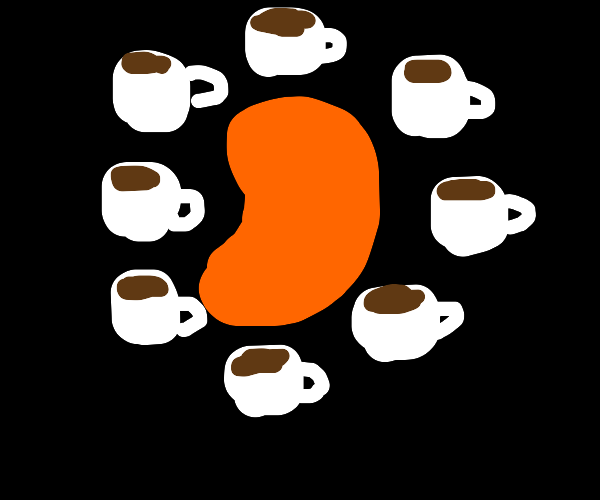 Orange jelly bean surrounded by coffee