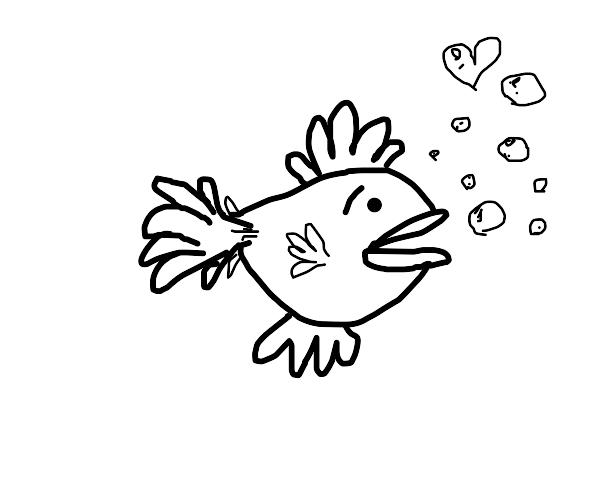 Fish blows a heart-shaped bubble